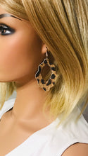 Load image into Gallery viewer, Burnt Umber Large Cheetah Print Leather Earrings - E19-1645