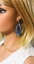 Load image into Gallery viewer, Navy Snake Leather Earrings - E19-1657