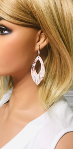 Marbled White Leather Earrings - E19-1673