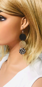Black, Gold and Cheetah Leather Earrings - E19-1682
