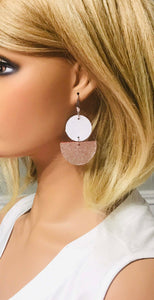 White Leather and Rose Gold Embossed Leather Earrings - E19-1684