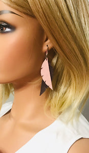Brown and Pink Genuine Leather Earrings - E19-171