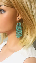 Load image into Gallery viewer, Turquoise Alligator Leather Earrings - E19-1760