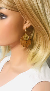 Rustic Pecan Ostrich Leather Earrings - E19-1770