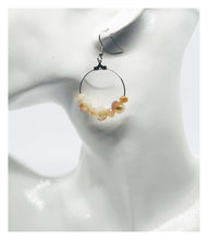 Load image into Gallery viewer, White and Gold Glass Bead Hoop Earrings - E19-113