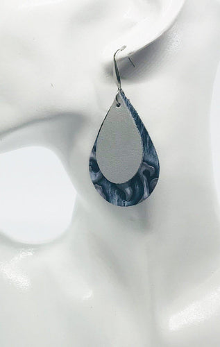 Leather and Faux Leather Layered Earrings - E19-190