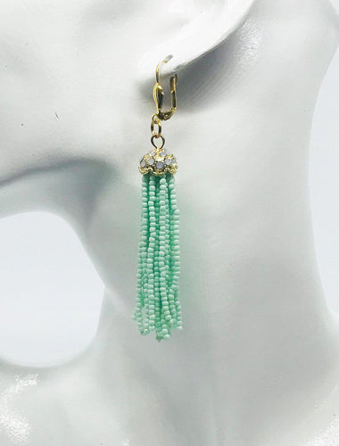 Mint Green Boho Style Glass Bead Tassel Earrings - E19-320