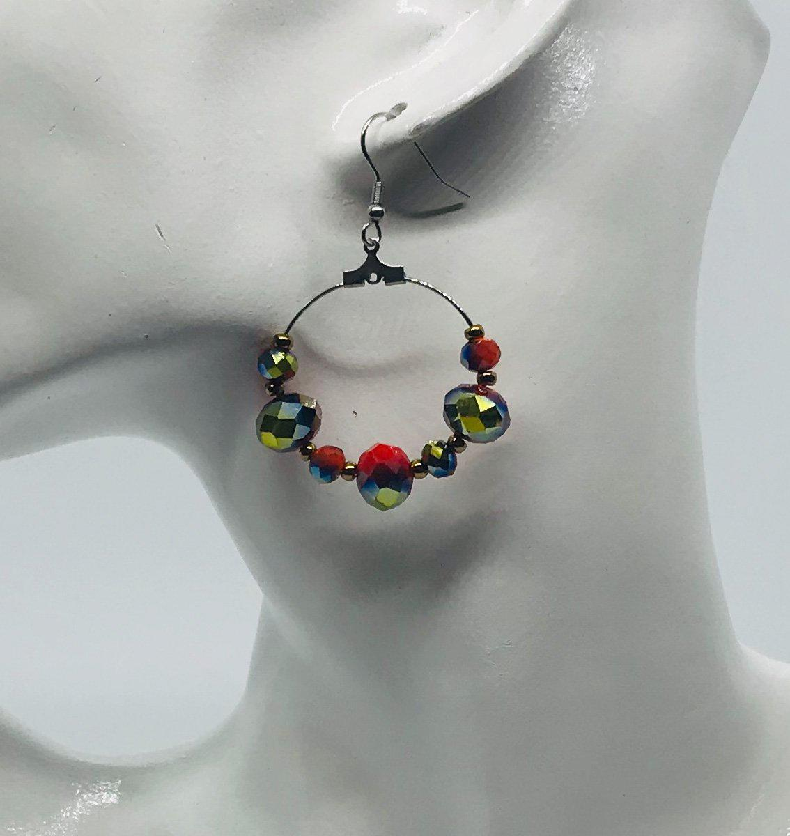 Glass Bead Hoop Earrings - E19-344