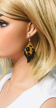 Load image into Gallery viewer, Black and Leopard Genuine Leather Earrings - E19-191