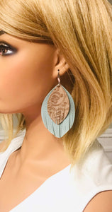 Brown and Blue Genuine Leather Earrings - E19-197