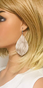Hair On Brown & White Leather Earrings - E19-2053