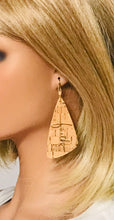 "Load image into Gallery viewer, Gold Speckled Cork Leather ""Faith"" Earrings - E19-2186"