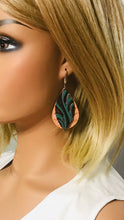 Load image into Gallery viewer, Teal and Italian Genuine Leather Earrings - E19-218