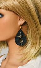 "Load image into Gallery viewer, Black Leather ""Faith"" Earrings - E19-2191"