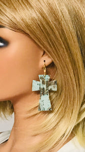 Driftwood Embossed Leather Cross Earrings - E19-2221