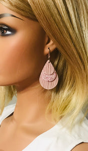 Light Pink Genuine Leather and Glitter Earrings - E19-231