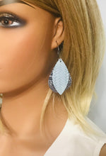 Load image into Gallery viewer, Blue Leather and Glitter Hoop Earrings - E19-233