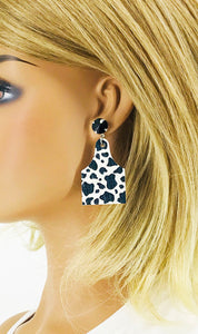 Swarovski Crystal and Leather Cow Tag Stud Earrings - E19-2795