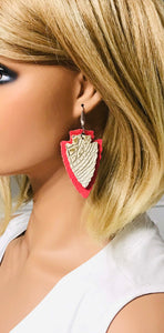Genuine Alligator Leather and Coral Earrings - E19-280