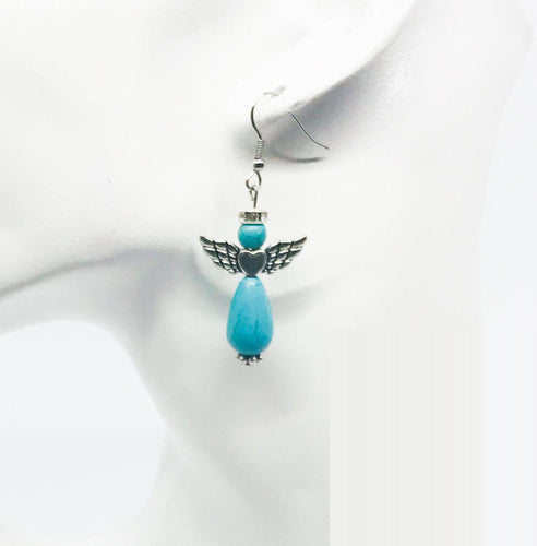 Glass Bead Angel Earrings - E338