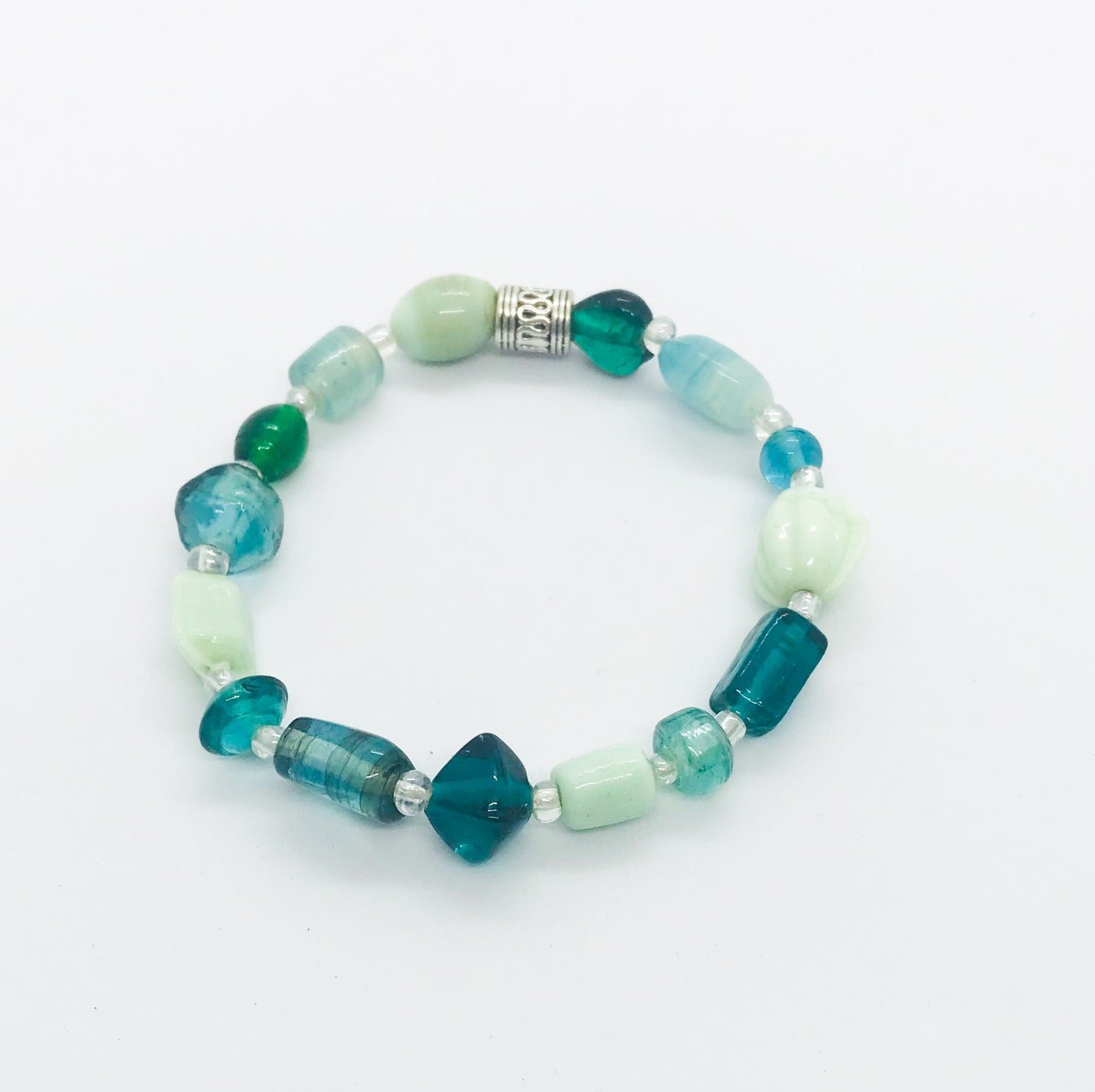 Glass Bead Stretchy Bracelet - B341