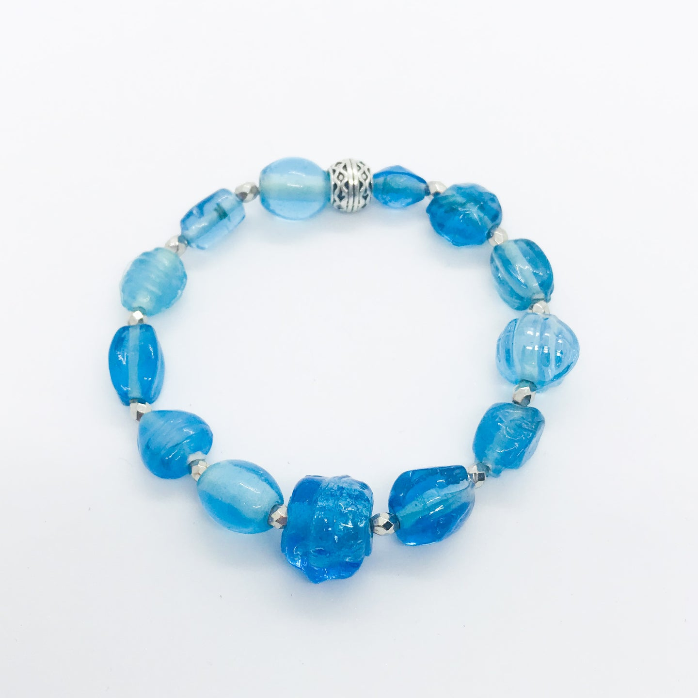 Glass Bead Stretchy Bracelet - B350