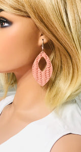 Pink Genuine Leather Earrings - E19-368