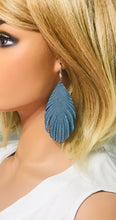 Load image into Gallery viewer, Blue Genuine Frayed Leather Earrings - E19-385