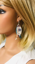 Load image into Gallery viewer, Peacock Blue Genuine Leather Earrings - E19-390