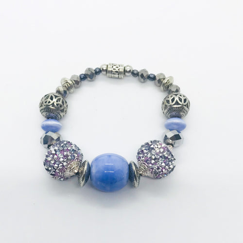 Big & Bold Collection Glass Bead Stretchy Bracelet (B391)