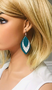 Genuine Turquoise Leather and Glitter Earrings - E19-396