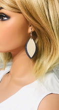Load image into Gallery viewer, Navy and Champagne Genuine Leather Earrings - E19-401
