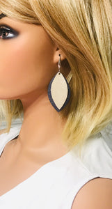 Navy and Champagne Genuine Leather Earrings - E19-401