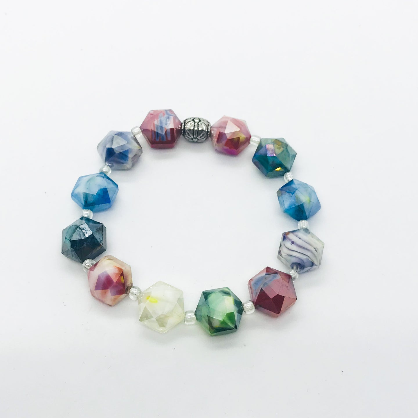 Glass Bead Stretchy Bracelet - B404
