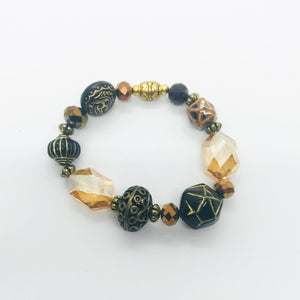 Big & Bold Collection Glass Bead Stretchy Bracelet - B407