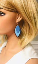 Load image into Gallery viewer, Brown and Blue Genuine Leather Earrings - E19-413