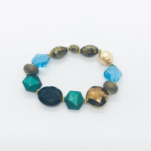 Big & Bold Collection Glass Bead Stretchy Bracelet - B415