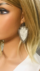 Snake and Grey Suede Leather Earrings - E19-433