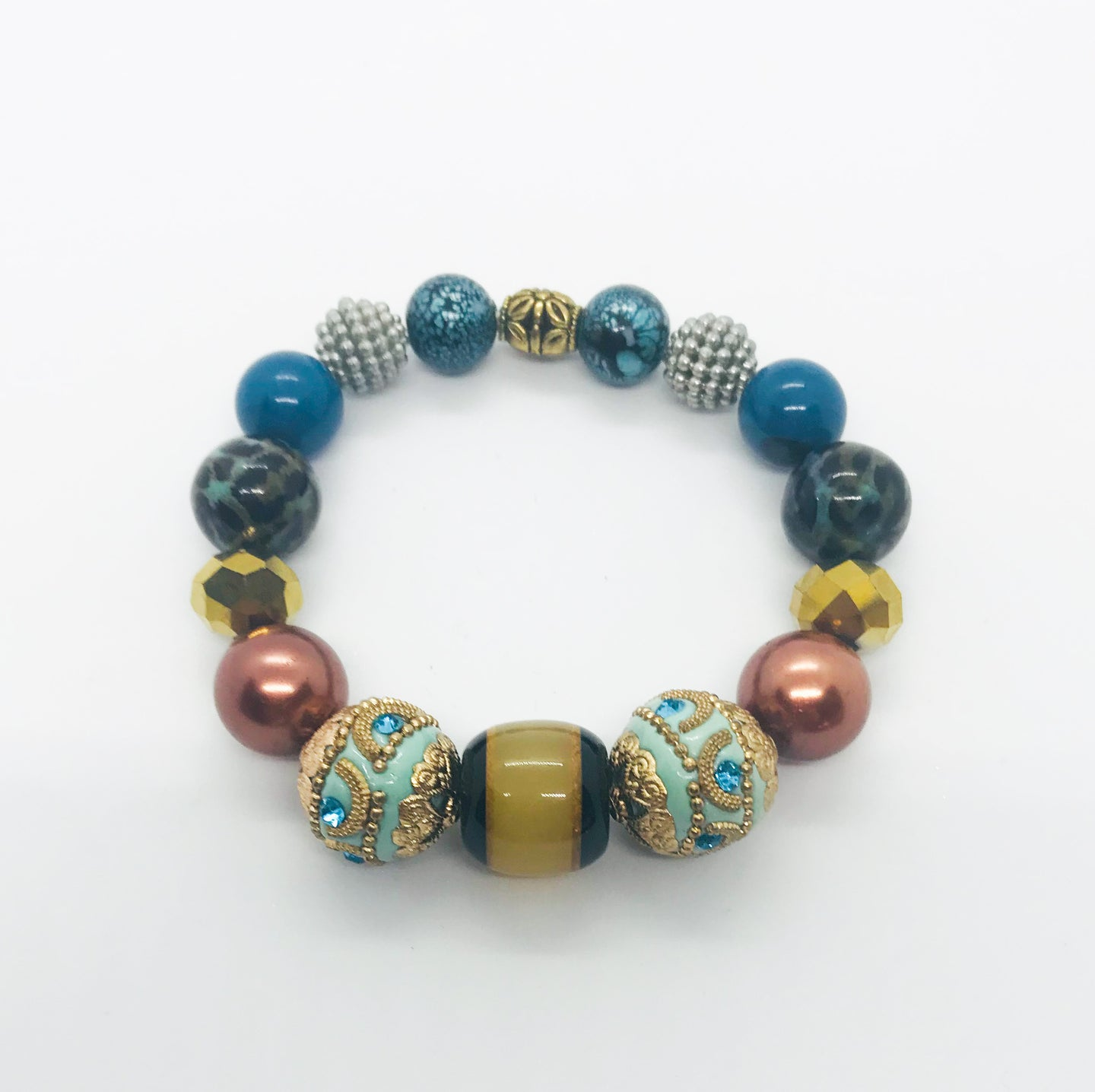 Big & Bold Collection Glass Bead Stretchy Bracelet - B440