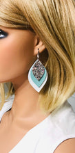Load image into Gallery viewer, Leather and Glitter Layered Earrings - E19-452