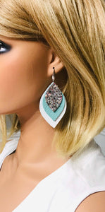 Leather and Glitter Layered Earrings - E19-452
