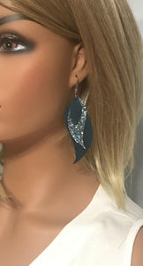 Dark Teal Leather and Turquoise Glitter Earrings - E19-453