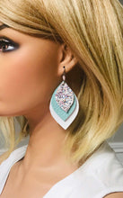 Load image into Gallery viewer, White and Turquoise Leather and Glitter Earrings - E19-457