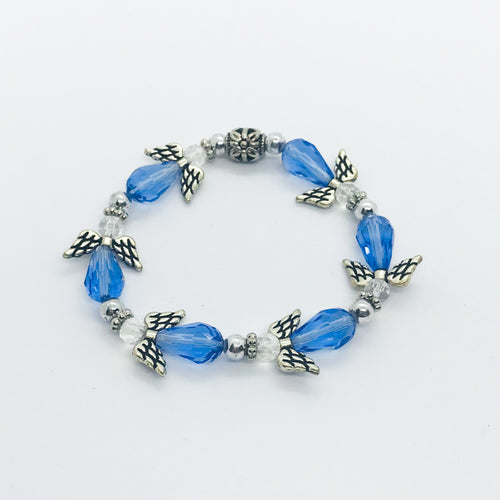 Blue Angel Glass Bead Stretchy Bracelet - B459
