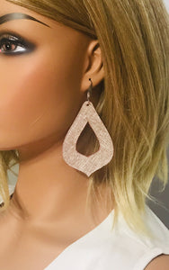 Rose Gold Leather Earrings - E19-464