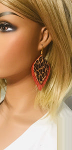 Coral and Baby Cheetah Frayed Leather Earrings - E19-466