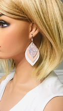 Load image into Gallery viewer, White and Pink Leather with Glitter Earrings - E19-471