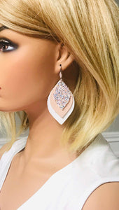 White and Pink Leather with Glitter Earrings - E19-471