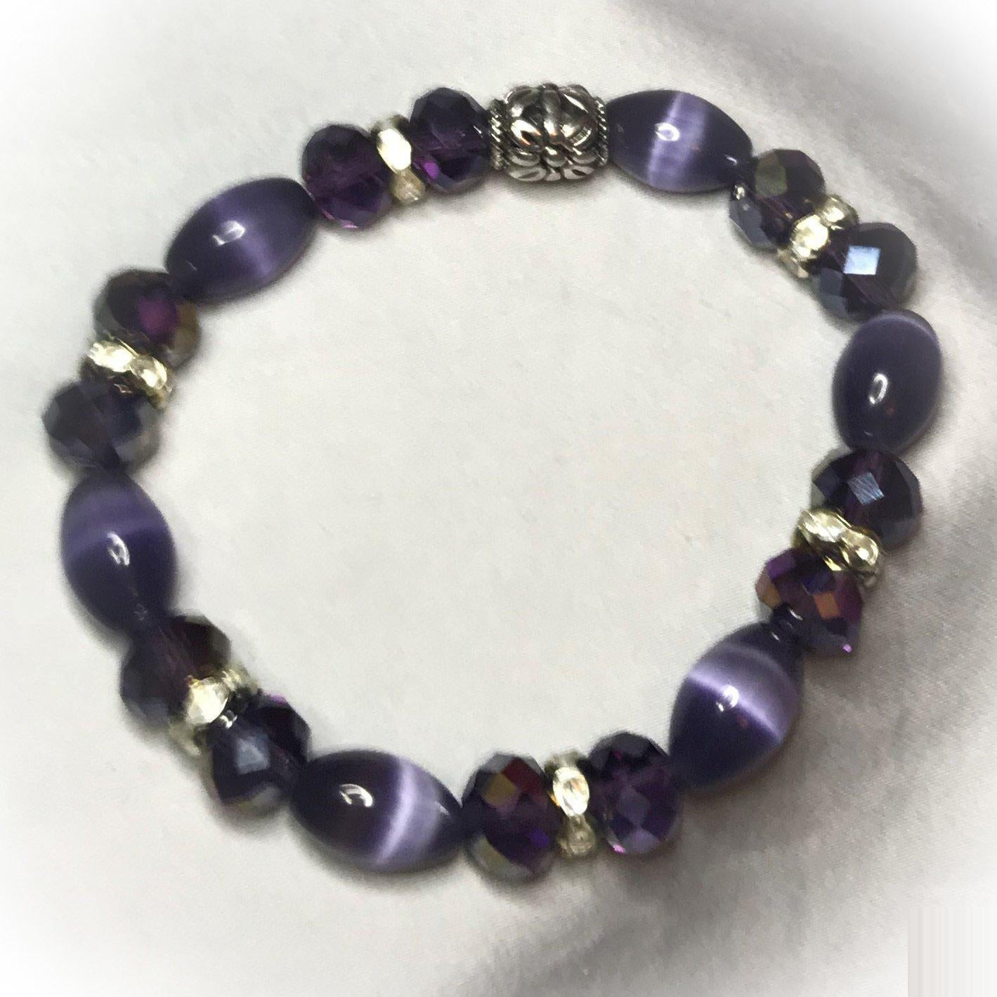 Glass Bead Stretchy Bracelet - B637