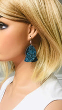 Load image into Gallery viewer, Teal Genuine Leather and Glitter Earrings - E19-489